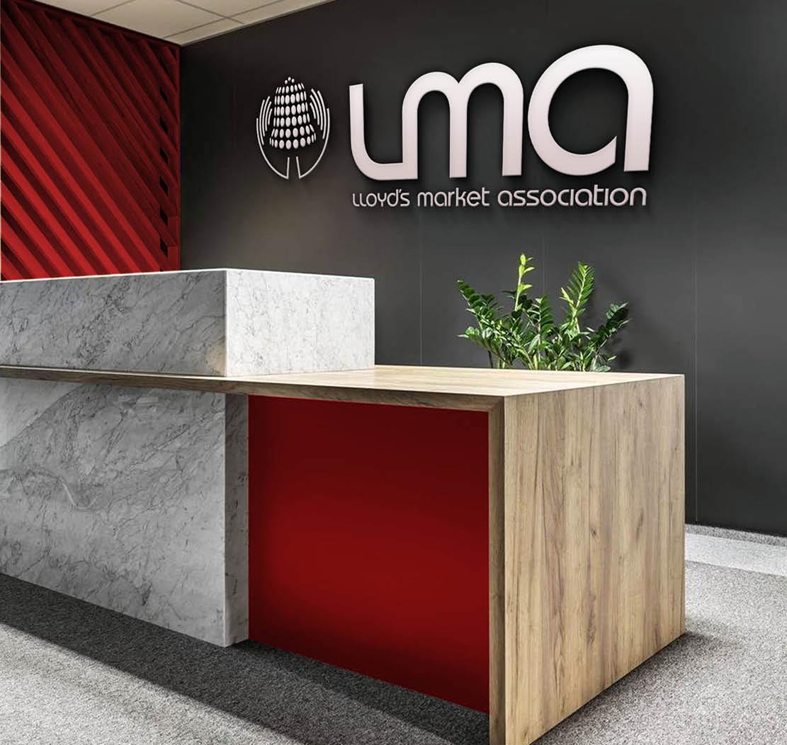 Lloyd's Market Association branding, Branding and design for insurance, office design, reception design