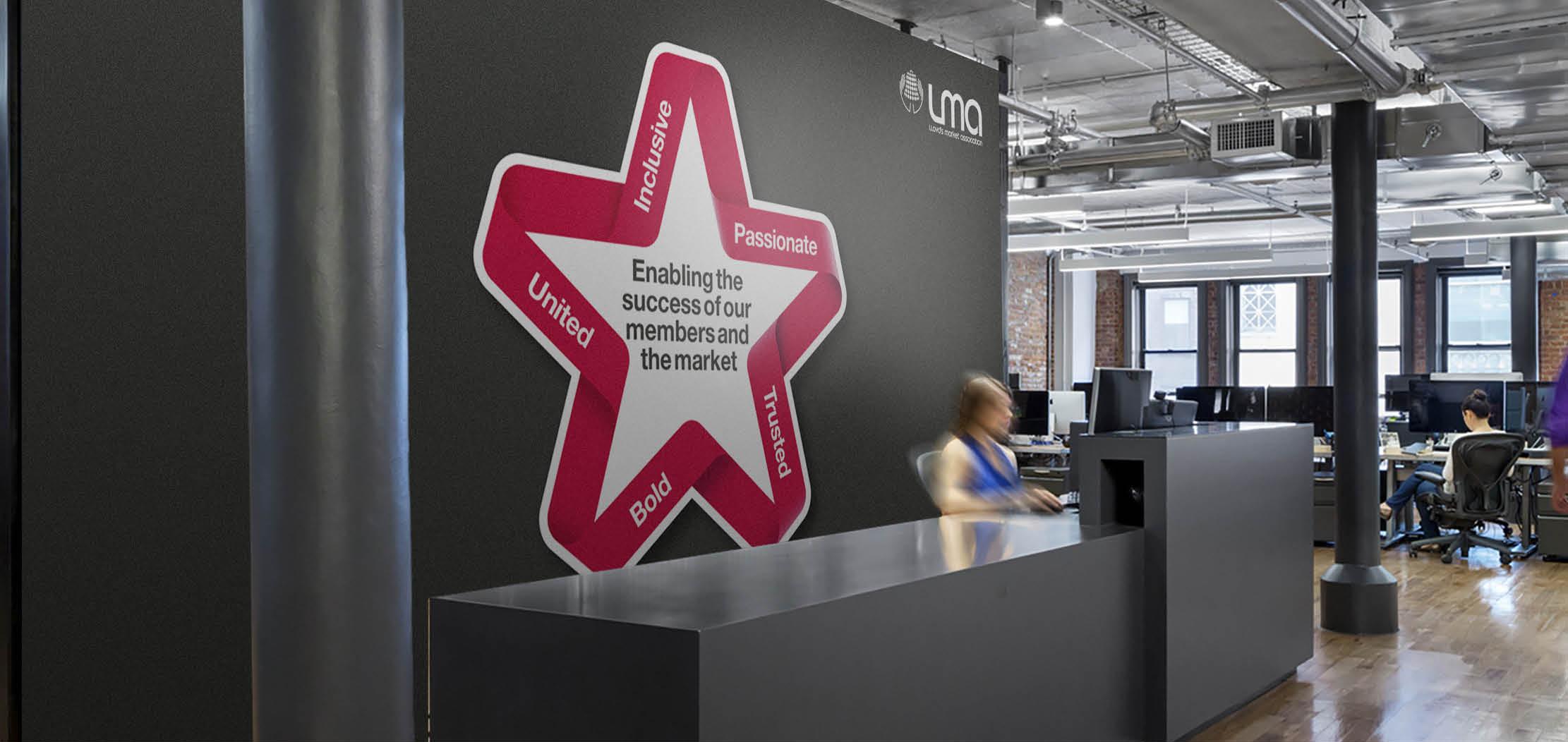 Lloyd's Market Association branding, Branding and design for insurance, office interior branding