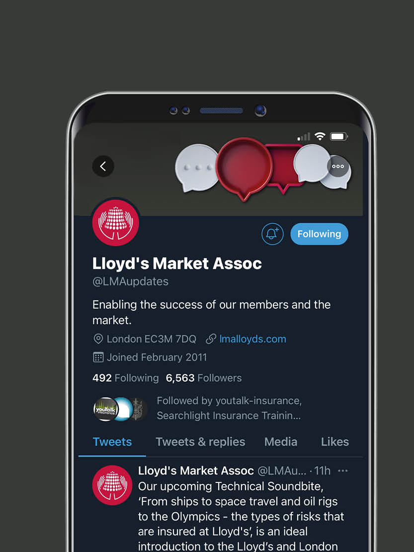 Lloyd's Market Association branding, Branding and design for insurance, social media branding