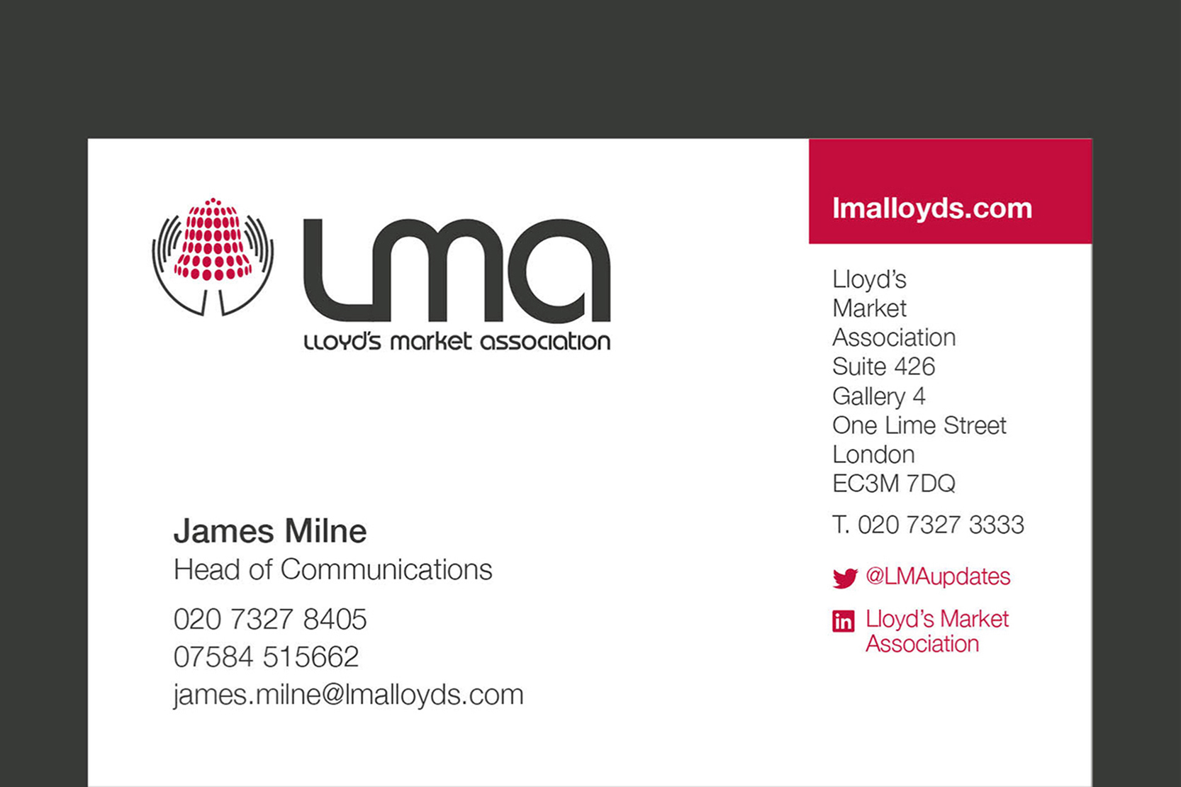 Lloyd's Market Association branding, Branding and design for insurance, business card design