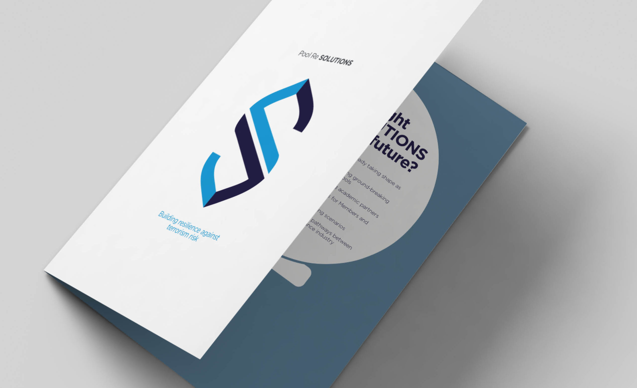 Pool Re Solutions marketing brochure, insurance marketing and design, information design
