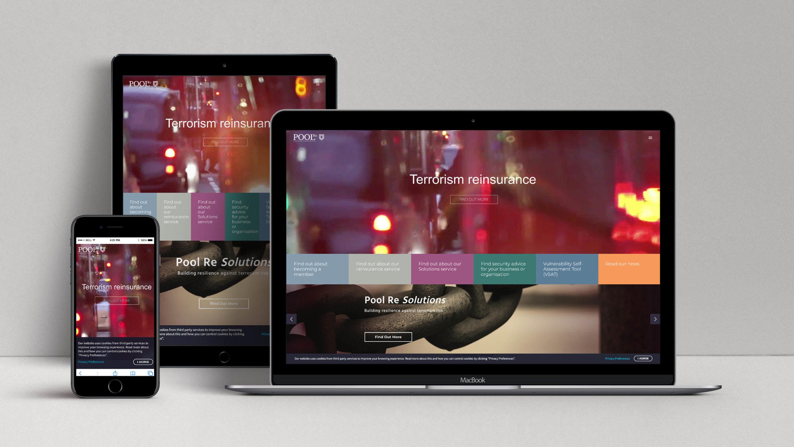 Pool Re Branding, website design, insurance branding and design